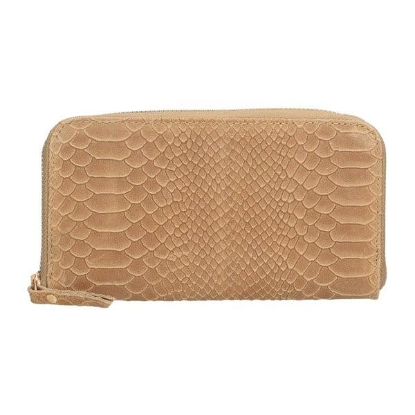 Hnědobéžová kožená peněženka Chicca Borse Tarho