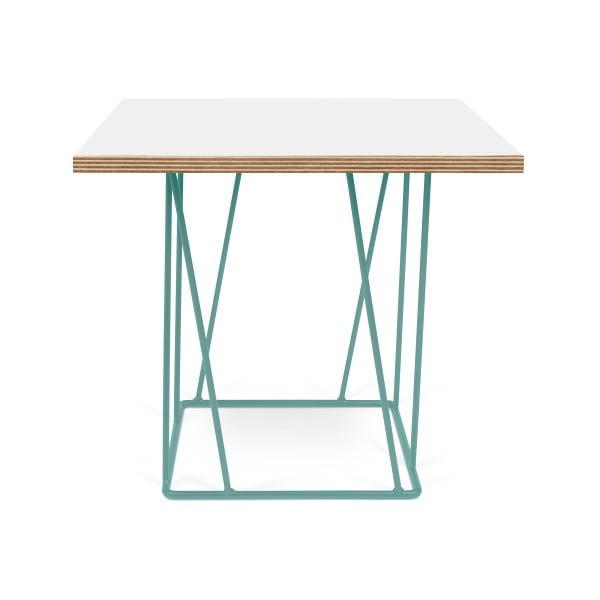 Bílý konferenční stolek se zelenými nohami TemaHome Helix, 50 cm