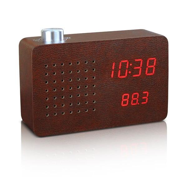 Ceas cu LED și radio Gingko Click Clock, maro-roșu