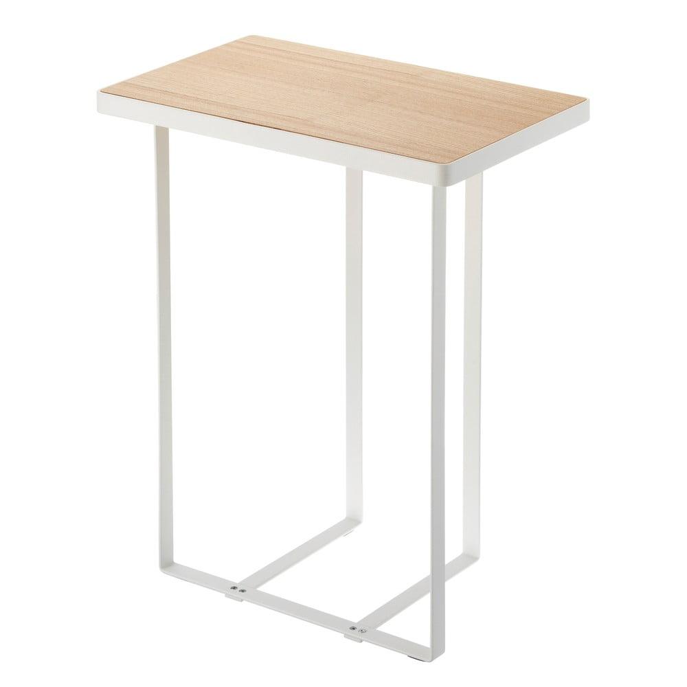 Bílý stolek se stojanem na časopisy s deskou z bukového dřeva YAMAZAKI Tower Magazine Rack&Table