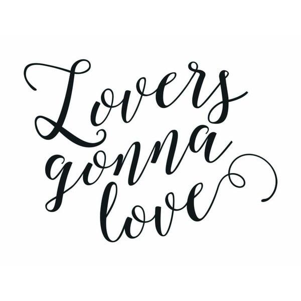 Plakát v dřevěném rámu Lovers gonna love, 38x28 cm