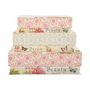 Sada 3 úložných krabic Beauty