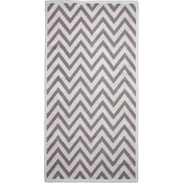 Béžový bavlněný koberec Vitaus Zikzak, 80x150cm