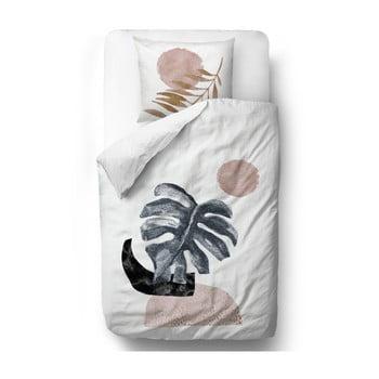 Lenjerie de pat din bumbac satinat Butter Kings Glossy Monstera, 135 x 200 cm imagine