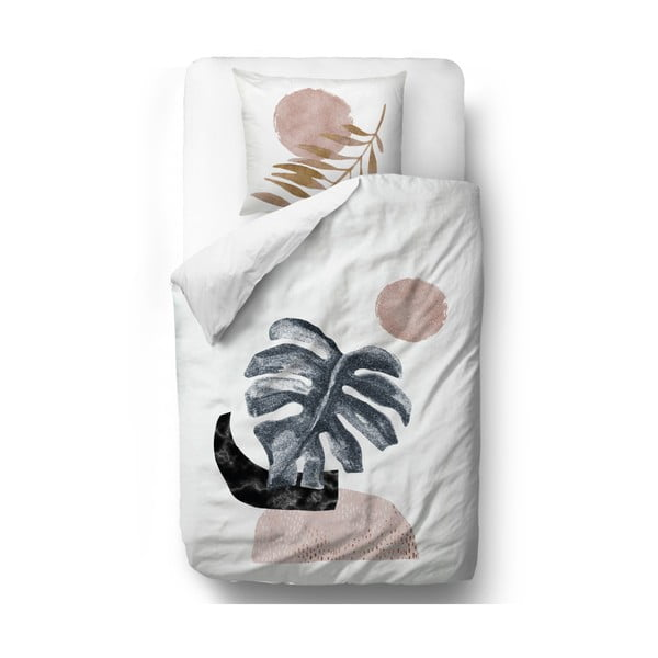 Lenjerie de pat din bumbac satinat Butter Kings Glossy Monstera, 135 x 200 cm