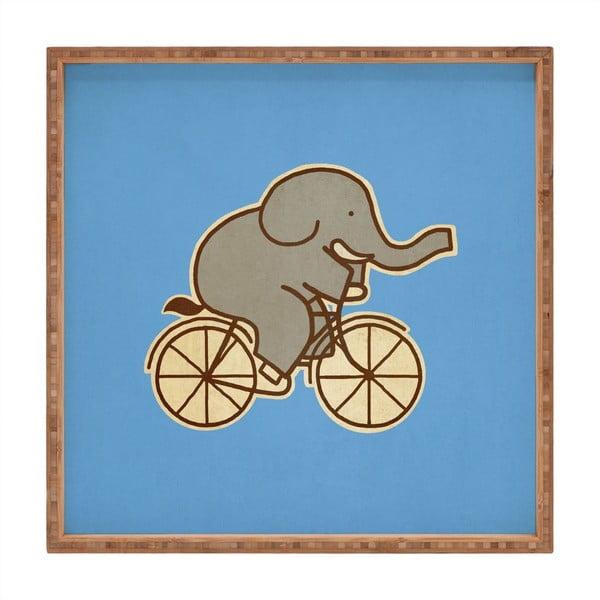 Tavă decorativă din lemn Biking Elephant, 40x40cm