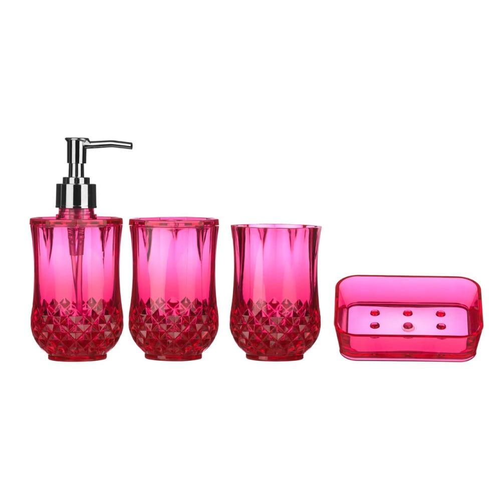Růžový koupelnový set Premier Housewares Cristallo Hot Pink