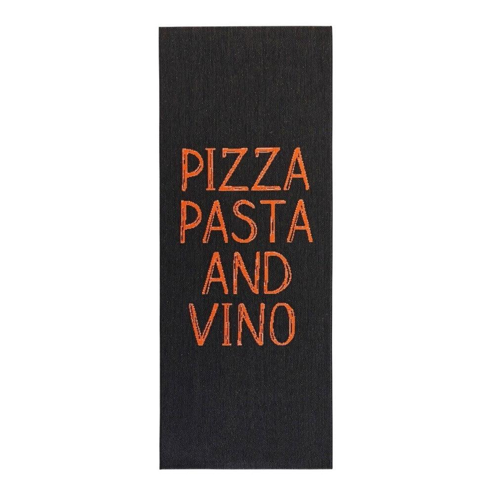 Černý kuchyňský běhoun Hanse Home Pizza Pasta and Vino, 80x200cm