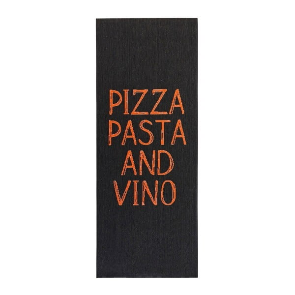 Pizza Pasta and Vino fekete konyhai futószőnyeg, 80x200cm - Hanse Home
