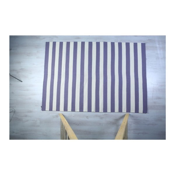 Vlněný koberec Geometry Stripes Purple  & White, 160x230 cm