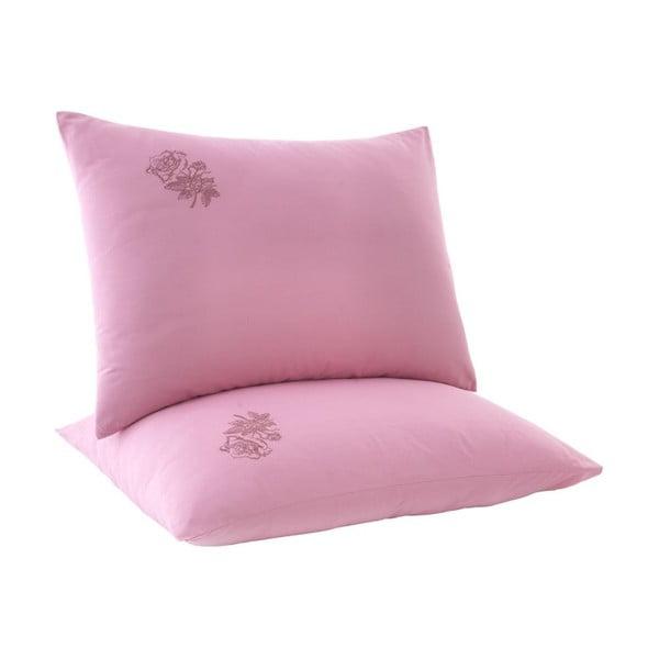 Sada 2 růžových povlaků na polštář Rose, 50x70cm