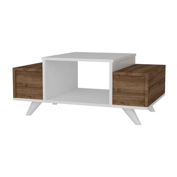 Biely konferenčný stolík s detailmi v dekore orechového dreva Garetto Eriberto