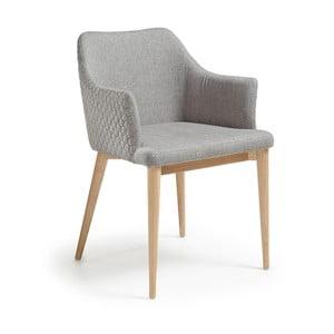 Scaun cu picioare din lemn și cotiere La Forma Danai, gri deschis