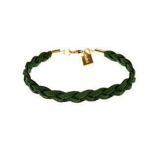 Náramek Suede braided gold, dark green
