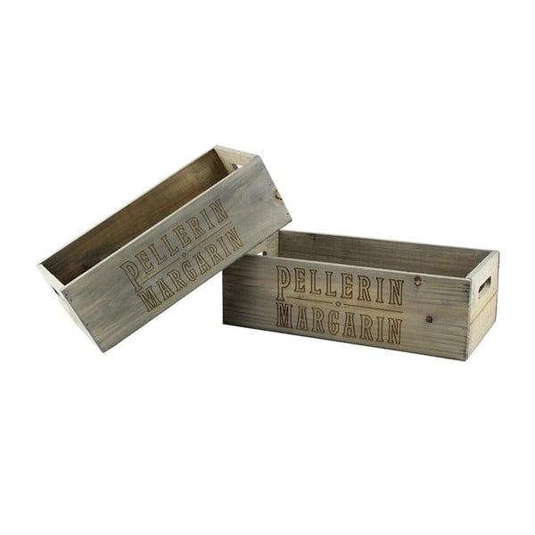 Sada 2 ks dřevěných boxů Pellerin Margarin