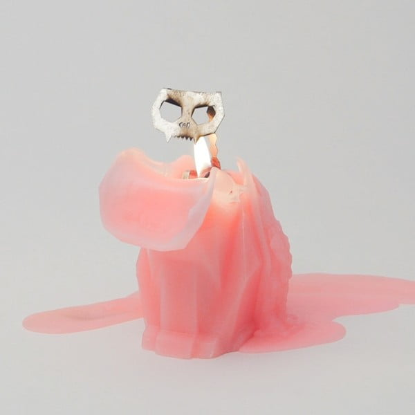 Růžová svíčka Pyropet Kisa