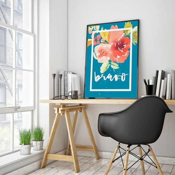 Plakát s květinami Bravo, modré pozadí, 30 x 40 cm