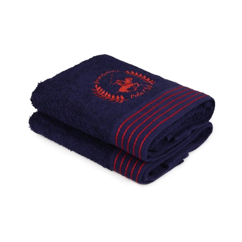 Sada dvou tmavěmodrých ručníků s červeným detailme Beverly Hills Polo Club Horses, 90x50cm