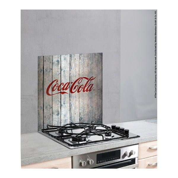 Skleněný kryt na zeď u sporáku Wenko Coca-Cola Wood, 70x60cm