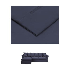 Tmavě modrý povlak na trojmístnou pohovku THE CLASSIC LIVING Helene, levýroh