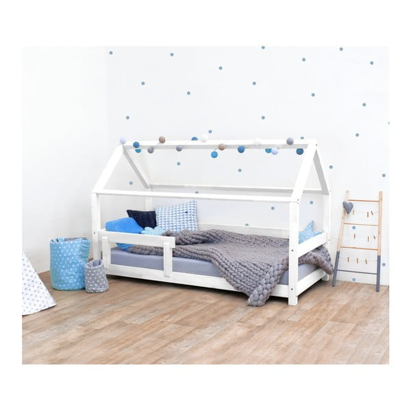 Pat pentru copii, din lemn de molid cu bariere de protecție laterale Benlemi Tery, 90 x 180 cm, alb