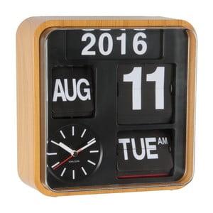 Ceas de birou și masă Present Time Mini Flip, maro