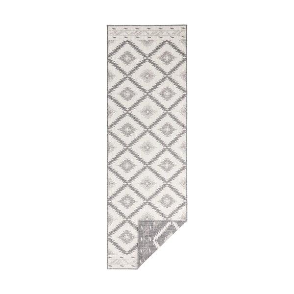 Šedo-krémový venkovní koberec Bougari Malibu, 80 x 250 cm