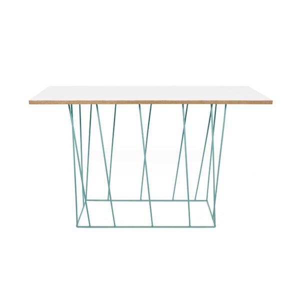 Bílý konzolový stolek se zelenými nohami TemaHome Helix