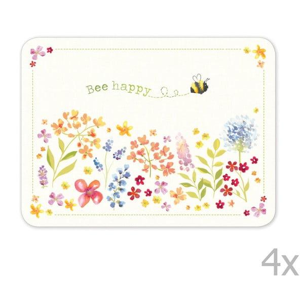 Sada 4 ks korkového prestierania Cooksmart England Flowers