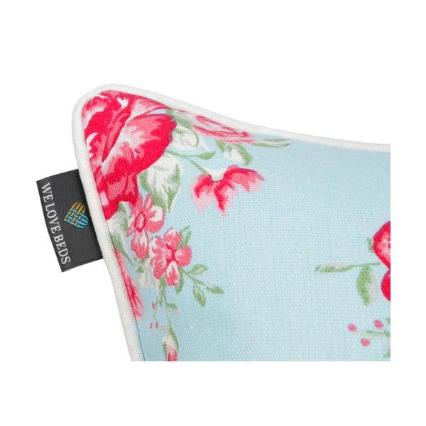 Față de pernă albastru mentol WeLoveBeds Roses, 40 x 60 cm