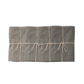 Set 4 șervețele textile Linen Couture Grey, 43 x 43 cm imagine