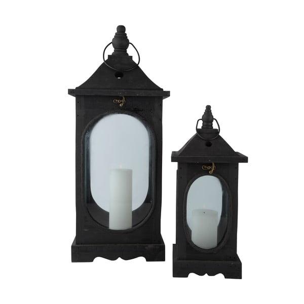 Sada dřevěných luceren, černé, 2 ks