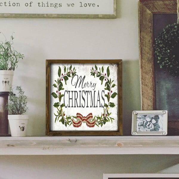 Obraz v rámu z borovicového dřeva Christmas Leaf,34x34cm