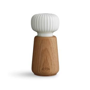Râșniță din lemn de stejar și porțelan pentru sare/piper Kähler Design Hammershoi, 13 cm, alb imagine