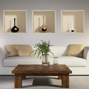 Set 3 autocolante cu efect 3D Ambiance Vase