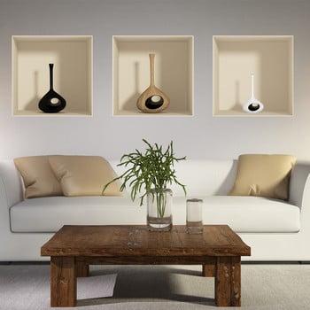 Set 3 autocolante cu efect 3D Ambiance Vase imagine