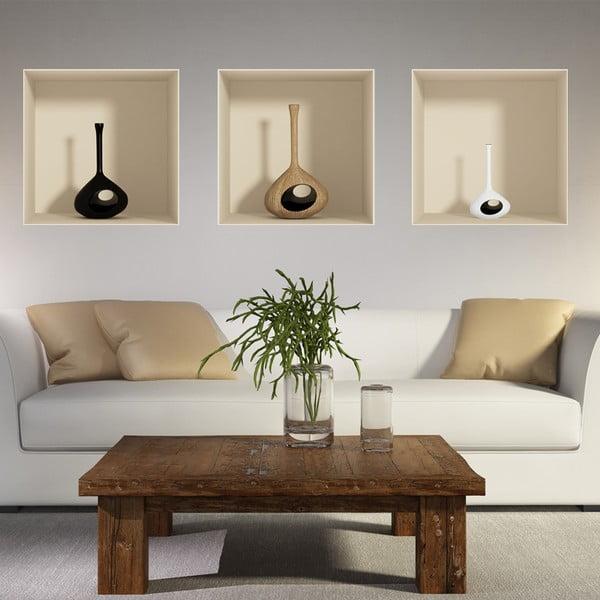 Zestaw 3 naklejek na ścianę 3D Ambiance Vase