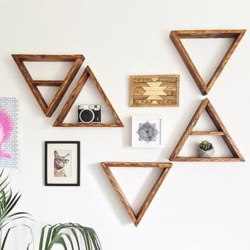 Set 5 rafturi din lemn pentru perete Ava