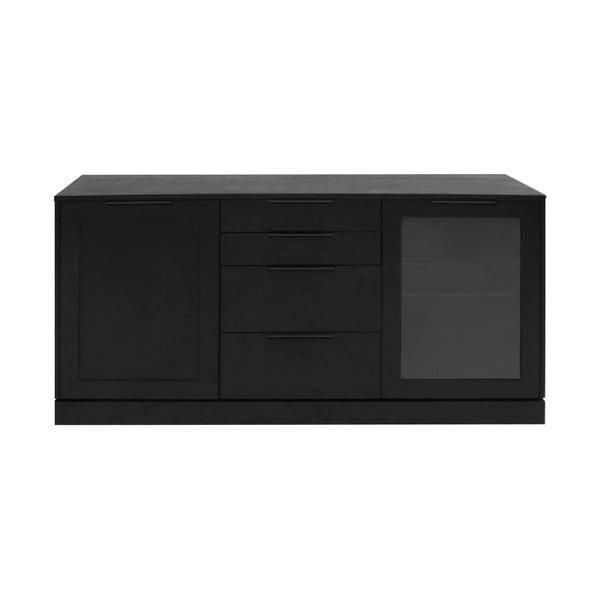 Comodă cu 4 sertare din lemn de stejar Canett Fiagro, negru