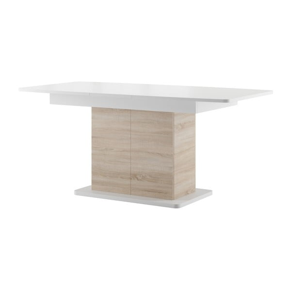 Rozkládací jídelní stůl v dekoru světlého dubového dřeva s bílou deskou Szynaka Meble Star 4
