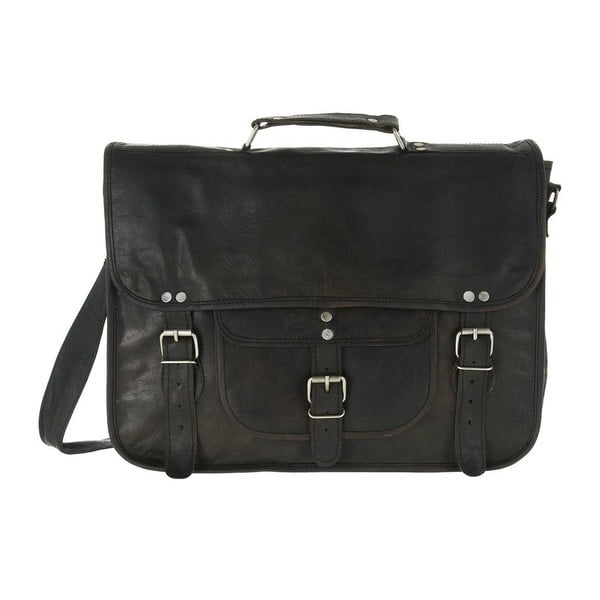 Pánská kožená taška Medium Black Satchel with Pocket and Handle