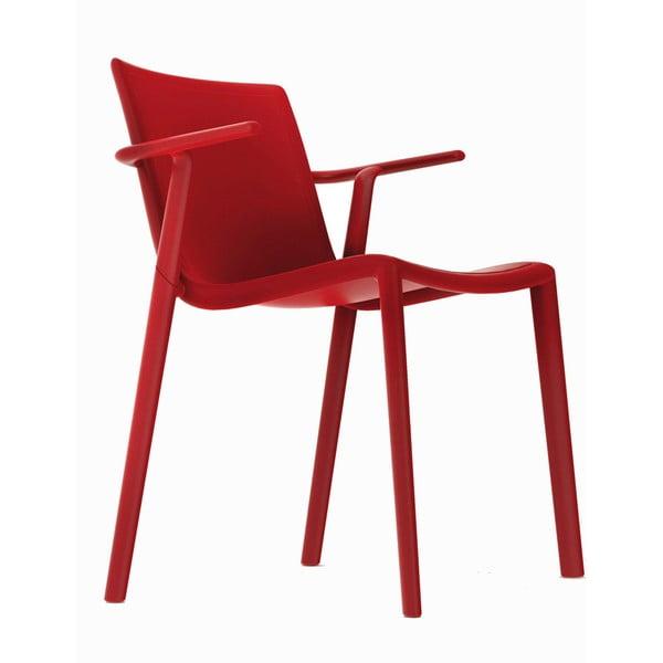 Sada 2 záhradných stoličiek s opierkami v červenej farbe Resol Kat