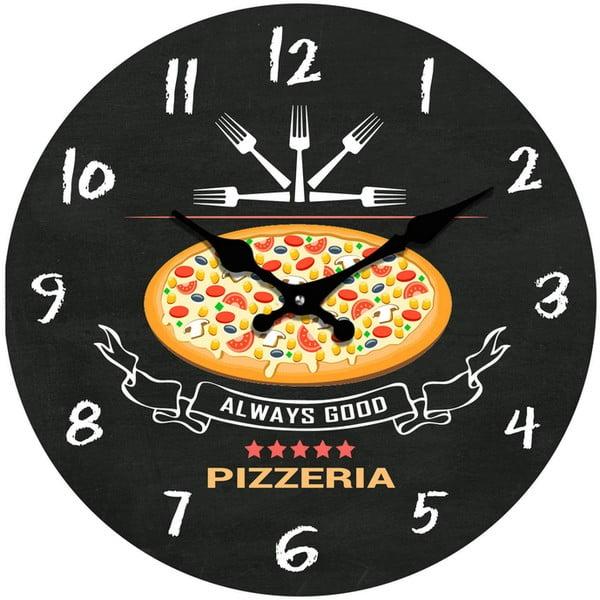 Skleněné hodiny Pizzerie, 34 cm