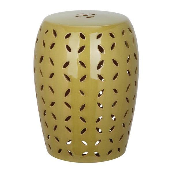 Zelený keramický stolek vhodný do exteriéru Safavieh Atticus, ø33cm
