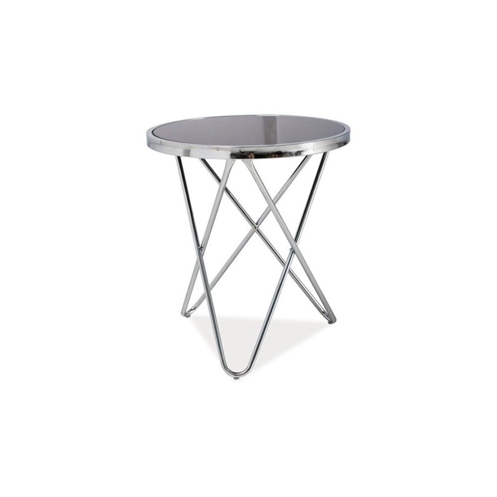 Odkládací stolek se skleněnou deskou a chromovou konstrukcí Signal Fabia, ⌀45cm