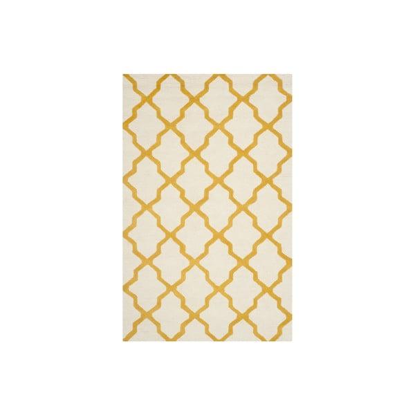 Vlněný koberec Ava 152x243 cm, bílý/oranžový