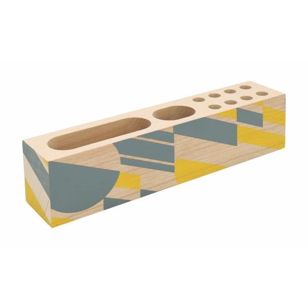 Geometrico citromsárga bükkfa tolltartó - Portico Designs