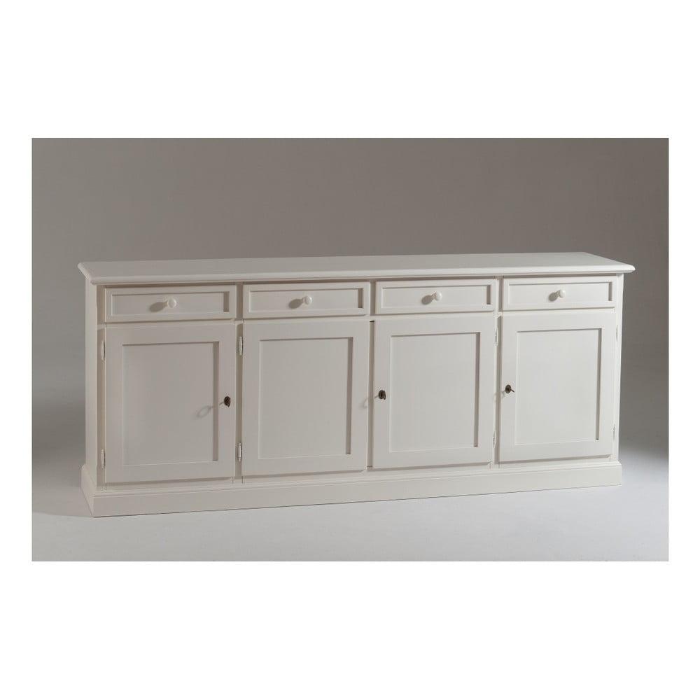 Bílá čtyřdveřová dřevěná komoda Castagnetti Buffet
