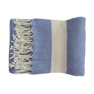 Prosop țesut manual din bumbac premium Lidya, 100 x 80 cm, albastru