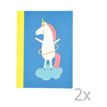 Set 2 caiete exerciții tip dictando cu imprimeu unicorn Rex London Magical Unicorn de la Rex London